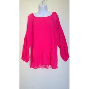 Susan Graver Hot Pink Cold Shoulder Tunic Blouse